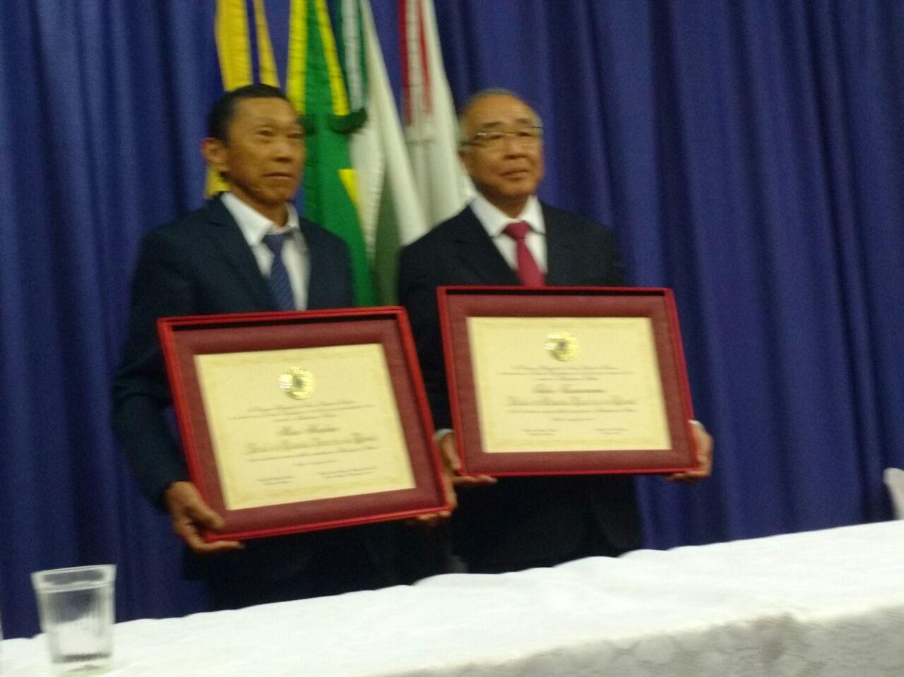Sessão Solene de Entrega de Titulo de Cidadão Emérito de Assaí aos Senhores Mário Hirakuri e Takeo Tsumanuma